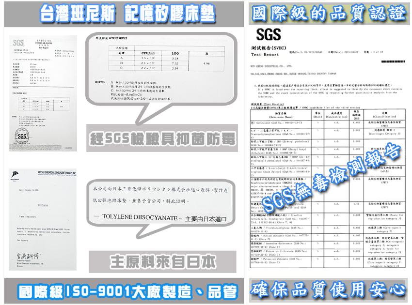 【班尼斯國際名床】~【5x6.2呎x6cm惰性波浪矽膠記憶床墊(日本原料)~附3M鳥眼布套】